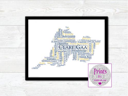 Clare GAA Clubs Wall Art Print: