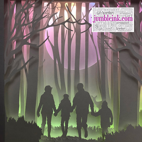 €5.50 - Family in the Woods - 3D Paper Cut Template Light Box SVG