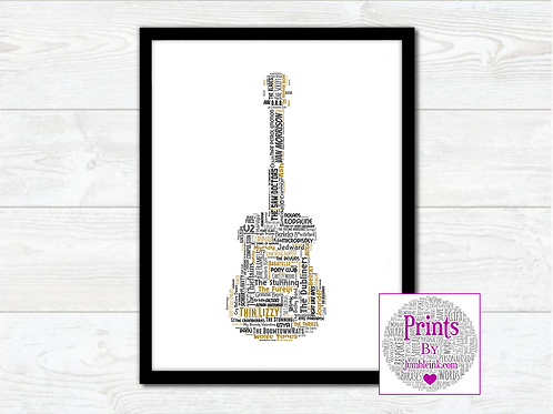 Irish Bands Guitar Wall Art Print: