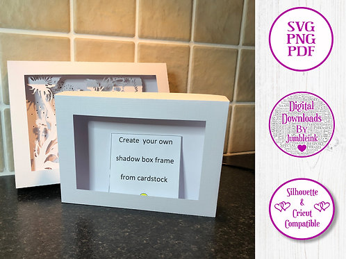 €5.50 - Rectangle Box Frame Template - 3D Paper Cut  Light Box SVG