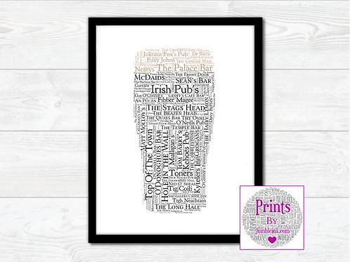 Pint of Irish Pubs Wall Art Print: