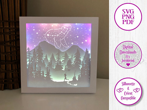€5.50 - Little Bear Constellation - 3D Paper Cut Template Light Box SVG