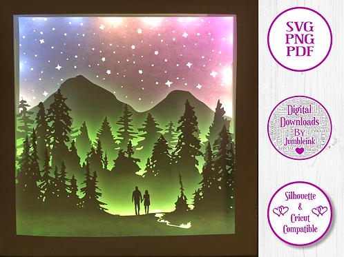 €5.50 - Couple Mountain Walk  - 3D Paper Cut Template Light Box SVG