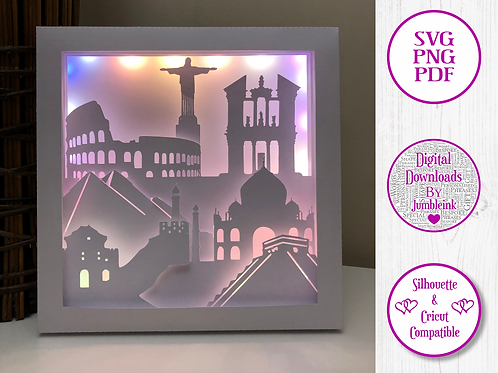 €5.50 - Wonders of the World - 3D Paper Cut Template Light Box SVG