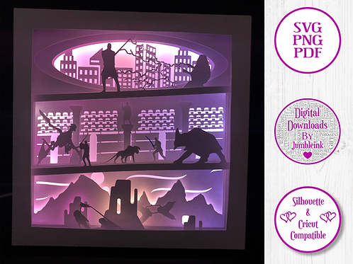 €5.50 - Star Wars Prequel Trilogy  - 3D Paper Cut Template Light Box SV