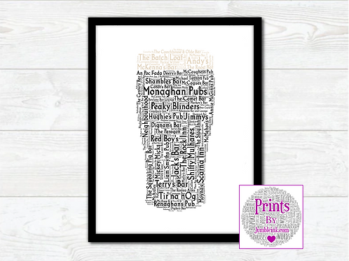 Pint of Monaghan Pubs Wall Art Print: