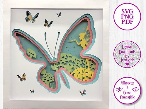 €5.50 - Butterfly - 3D Paper Cut Template Light Box SVG