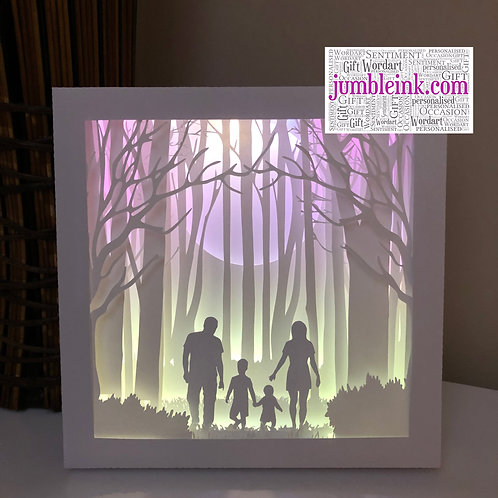 €5.50 - Family in the Woods 2 - 3D Paper Cut Template Light Box SVG