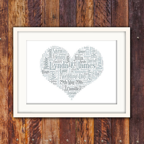Wedding Heart Wall Art Print: