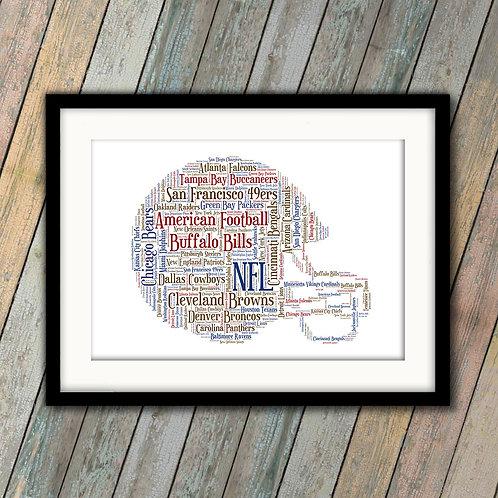 NFL Helmet Wall Art Print: