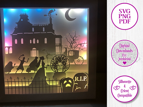 €5.50 - The Haunted Mansion  - 3D Paper Cut Template Light Box SV