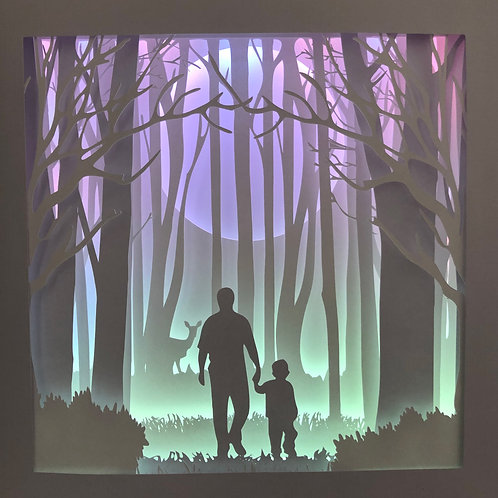 €5.50 Dad Walk in the Woods Square 3D Paper Cut Template Light Box SVG