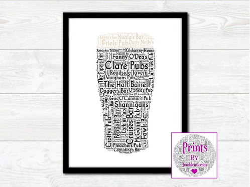 Pint of Clare Pubs Wall Art Print: