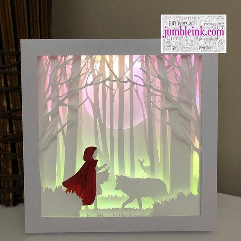 €5.50 - Little Red Riding Hood - 3D Paper Cut Template Light Box SVG