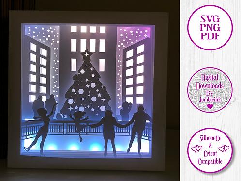 €5.50 - Ice Skating Christmas  - 3D Paper Cut Template Light Box SVG