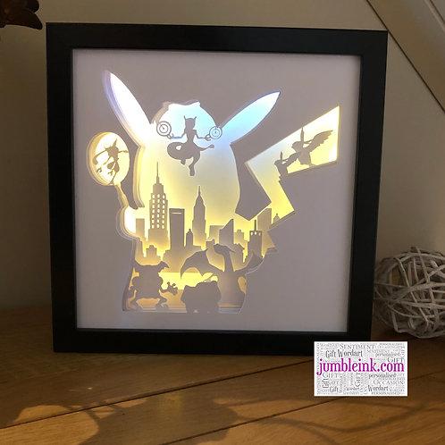 €5.50 - Detective Pikachu - 3D Paper Cut Template Light Box SVG