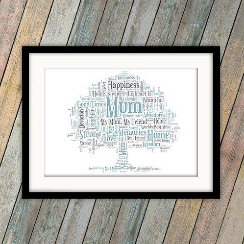 For Your Mum Oak Tree Wall Art Print: