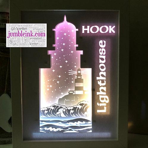 €5.50 - Hook Lighthouse - Rectangle 3D Paper Cut Template Light Box SVG Digital