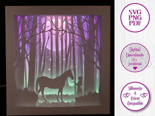 €5.50 - Unicorn and the Girl - 3D Paper Cut Template Light Box SVG
