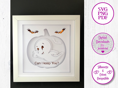 €5.50 - Casper the Friendly Ghost - 3D Paper Cut Template Light Box SVG
