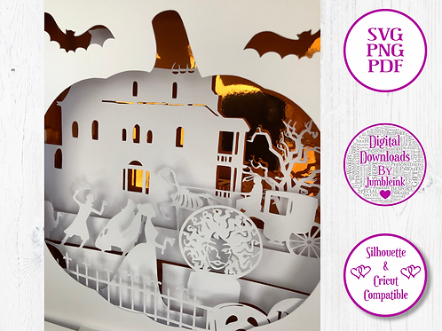 €5.50 - Haunted Mansion Pumpkin - 3D Paper Cut Template Light Box SVG