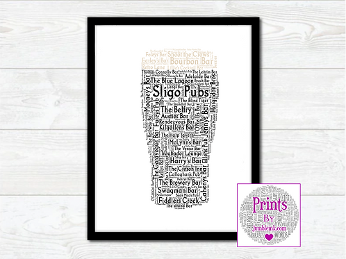Pint of Sligo Pubs Wall Art Print: €10 - €55