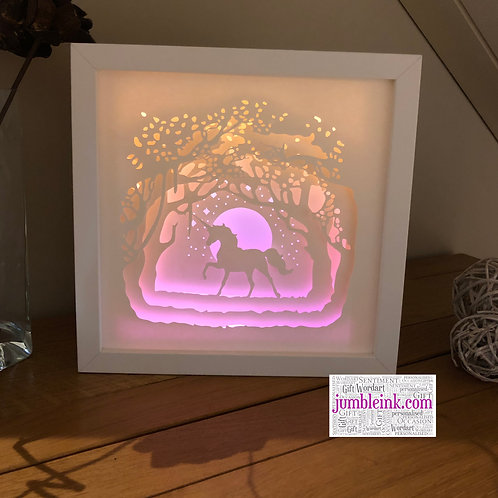 €5.50 - The Enchanted Forest Unicorn - 3D Paper Cut Template Light Box SVG