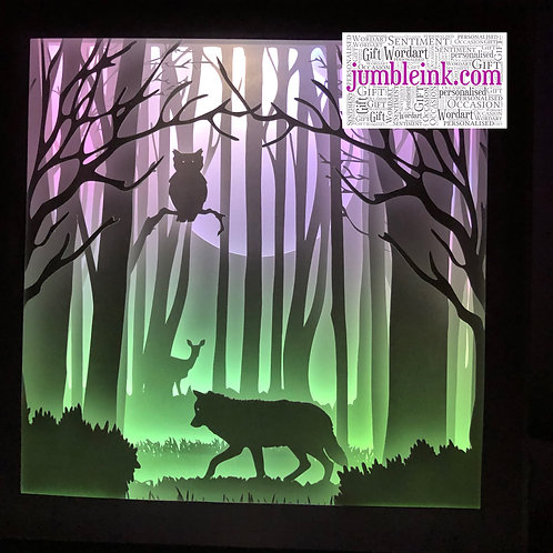 €5.50 - Owl and the Wolf - 3D Paper Cut Template Light Box SVG