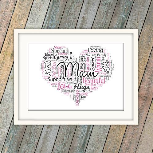Mam Heart Wall Art Print: