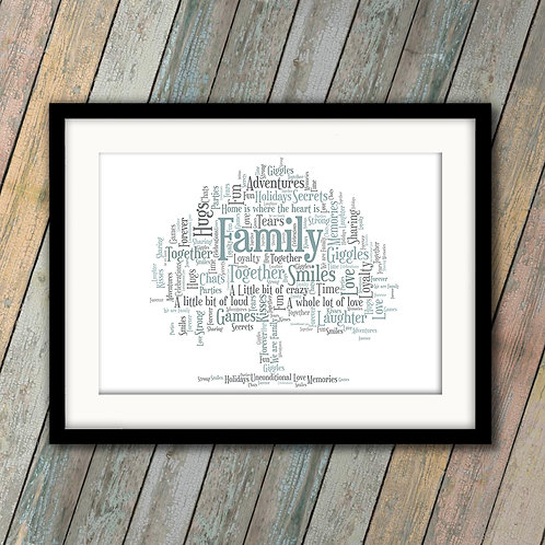 Family Oak Tree Wall Art Print: