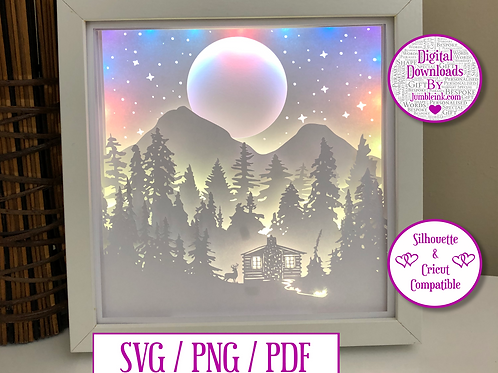 €5.50 - Mountainside Forest Cabin - 3D Paper Cut Template Light Box SVG