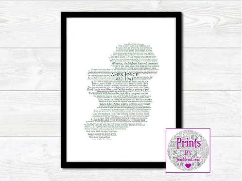 James Joyce Map Wall Art Print: