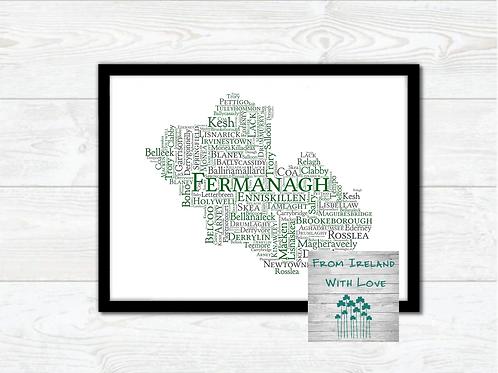 County Fermanagh Towns Wall Art Print: