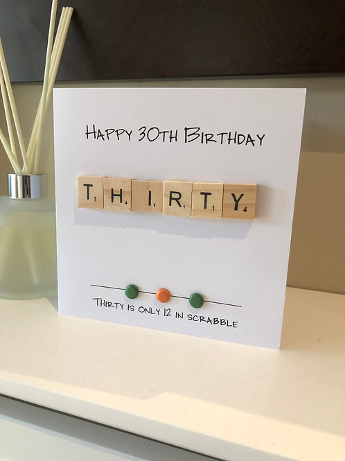 30th Birthday Scrabble Card: €5