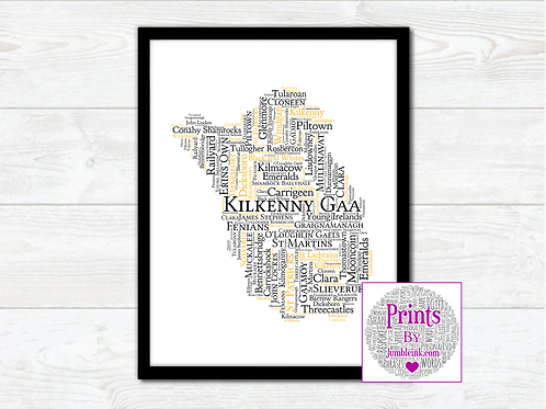 Kilkenny GAA Clubs Wall Art Print: