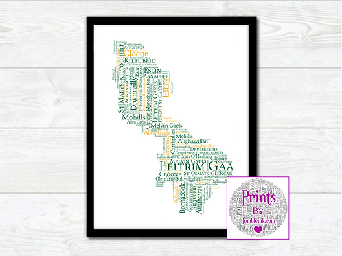 Leitrim GAA Clubs Wall Art Print: