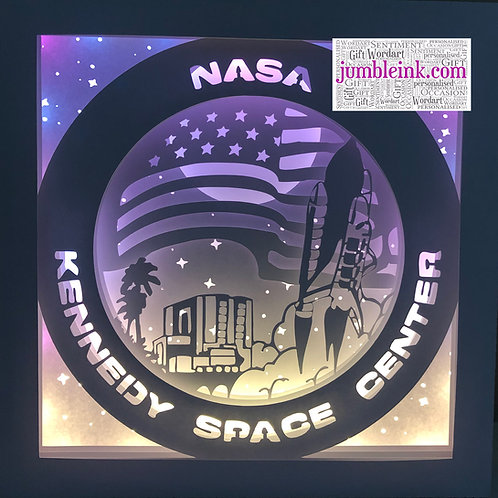 €5.50 - Kennedy Space Center - Square 3D Paper Cut Template Light Box SVG