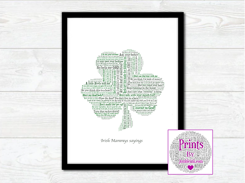 Mammy's Sayings Shamrock Wall Art Print: €10 - €55