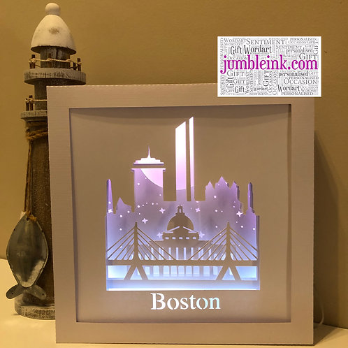 €5.50 - Boston Skyline - 3D Paper Cut Template Light Box SVG