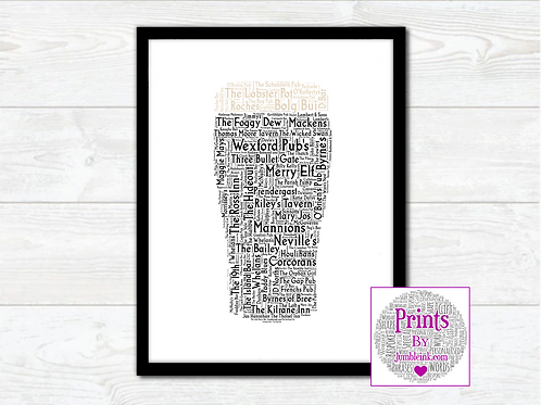 Pint of Wexford Pubs Wall Art Print: