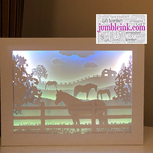 €5.50 - Horses in the Field - Rectangle 3D Paper Cut Template Light Box SVG