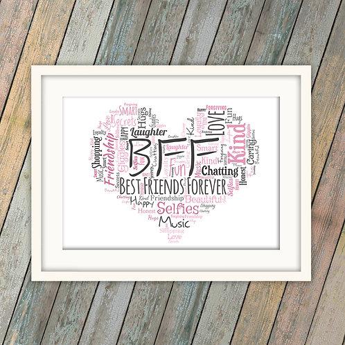 BFF Best Friends Forever Heart Wall Art Print: