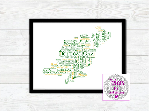 Donegal GAA Clubs Wall Art Print: