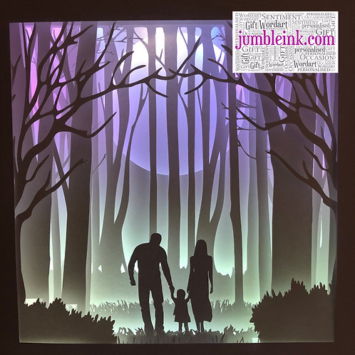 €5.50 - Family in the Woods Little Girl - 3D Paper Cut Template Light Box SVG