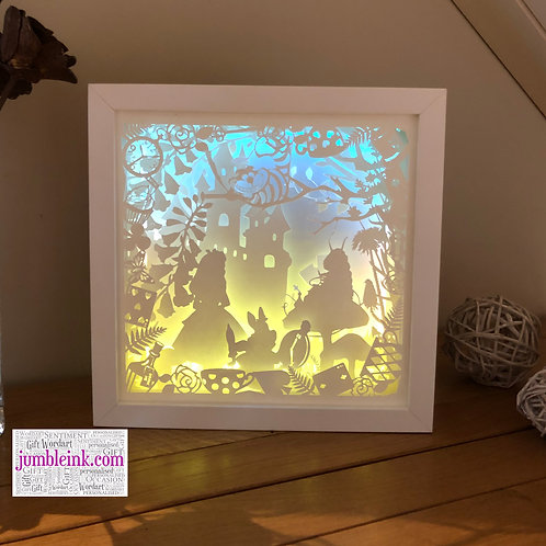 €5.50 - Alice In Wonderland - 3D Paper Cut Template Light Box SVG