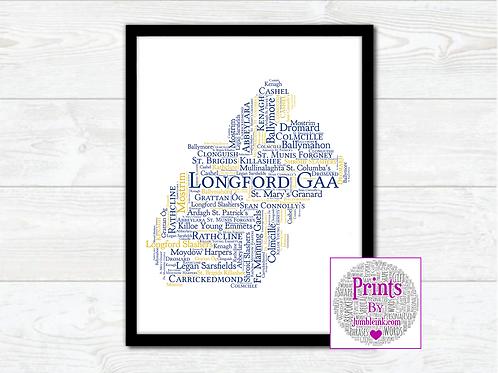Longford GAA Clubs Wall Art Print: