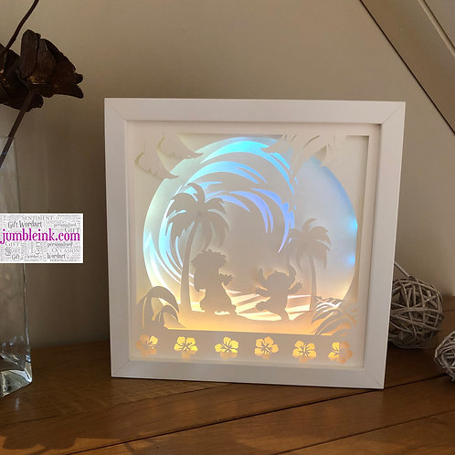 €5.50 - Lilo & Stitch - 3D Paper Cut Template Light Box SVG