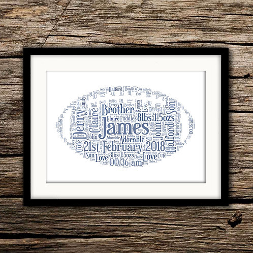 New Baby Rugby Ball Wall Art Print: