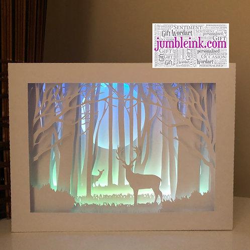 €5.50 - Deer In The Woods - Rectangle 3D Paper Cut Template Light Box SVG