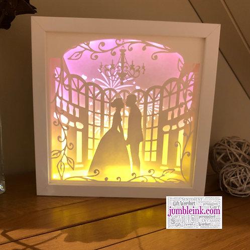 Wedding Couple - 3D Paper Cut Template Light Box SVG Digital Download